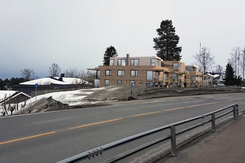 NYE TEGNINGER: Utbygger ønsker å bygge inntil 20 boenheter i til sammen fire leilighetsbygg i Hvittingfossveien 92.