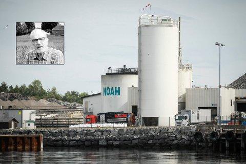NØDVENDIG: Håkon Fæste (innfelt) går i forsvar for Noahs virksomhet på Langøya.  Det er tross alt arbeidsplasser og inntekter både folk og kommunen lever av  og en tar ansvar for en nødvendig samfunnsvirksomhet, skriver Fæste.
