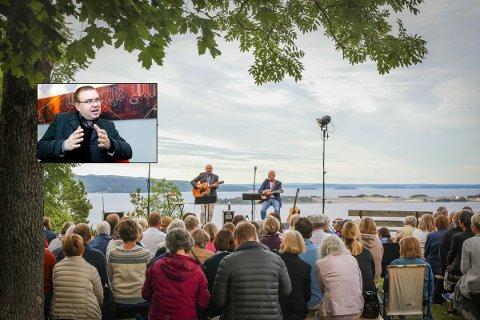 DEBATT: Arve Høiberg (Ap, innfelt) tar initiativ til et felles festspill for Vestfold og Telemark. Her fra Guren Hagen og Lars Martin Myhres festspill-konsert ved heisoppgangen i 2017.