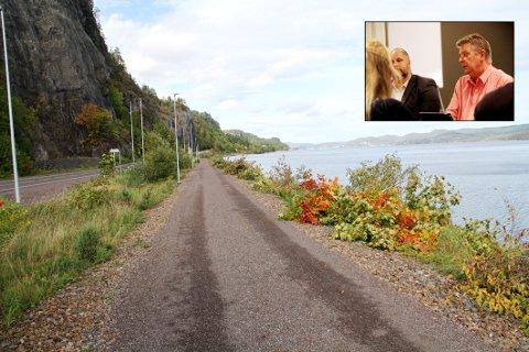 BEHOLDES: Det eksisterende dekket av knust asfalt på turveien mot Sjøskogen beholdes inntil videre – tross protestene fra Bjørn Olav Maurstad (Ap).