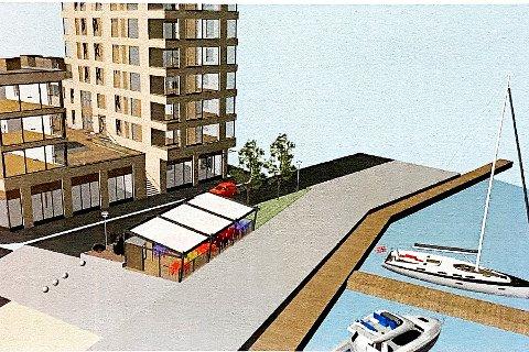Slik kan det bli: Uteservering foran den nye restauranten i Havnegaten skal behandles i utvalget for regulering, kommunalteknikk og miljø onsdag. Skisse: Asplan Viak