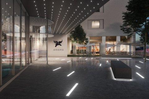 MODERNE: hotellet som blir Jessheims første hotell er planlagt med 500 rom og en lobby med plass for å møtes.