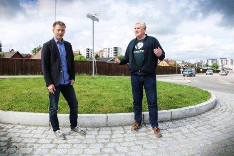 FORNØYD MED MØTET: Thorbjørn Merkesdal og Stein Vegar Leidal i Ullensaker Venstre er tilfreds med svarene fra Nye Veier i torsdagens dialogmøte.