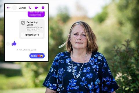 SENDTE NATTAMELDING: Denne meldingen (innfelt) sendte Laila Kjelsrud til sønnen sin Daniel om kvelden den 4. juni i fjor. Hun fikk aldri noe svar.