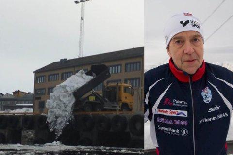 SNØ: Det våres i Finnmark og lastebilene hjelper til med å få gatene bare. Da ender snøen i sjøen, og det reagerer Trond Michelsen (t.h.) på.