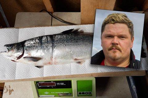 FANGET: Fisken som Trasti fanget på tirsdag var 2,276 kilo.