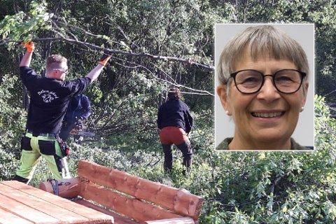 GLAD: Muriel Tverland er kaserer i Helselaget, nå har hun og Bjørnevatn Bolyst restaurert andedammen i Bjørnevatn. Montasje.