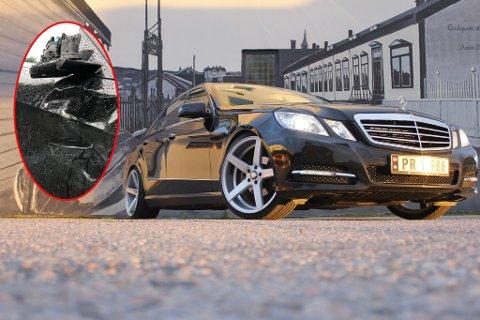 STYGG SKADE: Bilen til Stian Figenschou Lemika (22) er påført skade som kan koste skjorta å reparere.