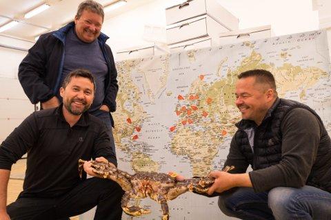 EKSPORT: Svein Ruud (øverst), Gentjan Kryeziu og Jørn Malien viser fram en krabben foran et kart hvor i verden Norway king crab eksporterer til.