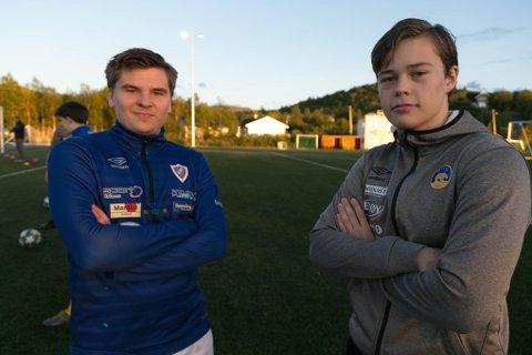 LA BORT UENIGHETER: Det to lagene la bort alle uenigheter, slik at Mathias Tysdal (18) og Audun Bednarczyk (19) kan spille fotball i år også.