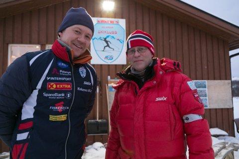 SKI: Atle Staalesen (til venstre) og Stein Lind-Hansen i KOS gjør alt for å få best mulige forhold.