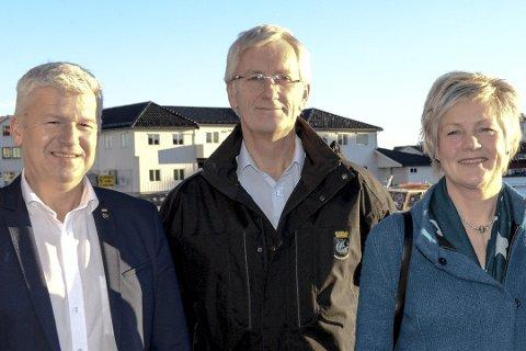 CRUISEANLØP: Ordfører Jone Blikra, havnefogd Svein Arne Walle og prosjektleder Anne-Bjørg Haugan. FOTO: NILS JUL LANDE