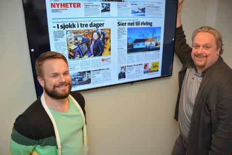 TIDLIGERE: - KVs eAvis kan framover lastes ned fra klokka 21, kvelden før papiravisa ligger i postkassene, forteller nettredaktør Trond Nøstvold Tou (t.v.) og ansvarlig redaktør Espen Solberg Nilsen.