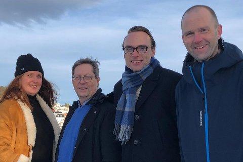 Anita Mjelland (t.v.) er kumulert på andreplass på nominasjonskomiteens forslag til kommunevalgliste. Videre følger ordførerkandidat Jan Petter Abrahamsen, Kristan Ljåstad (tredjeplass) og Lars-Erik Vaale (fjerdeplass).