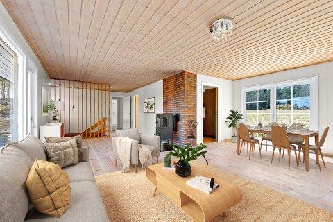 MØBLERT: Her er boligens stue innredet digitalt. Klikk på pilene eller sveip for å se flere bilder.