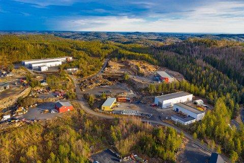 STORHANDEL: Det er i dette området (øverst til venstre) Bernt Dahl og Drangedal bilruter ønsker å etablere storhandel.