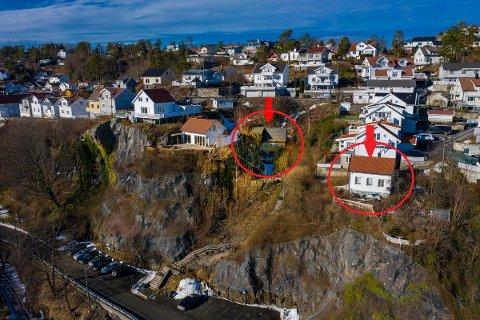 STOR FORSKJELL: Bekkedalsveien 14 (t.v.) og Bekkedalsveien 16A er naboeiendommer, men har fått vidt forskjellige prisantydninger.