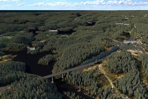 Slik er brua over Tisjø skissert av Nye Veier. Illustrasjonen er foreløpig.