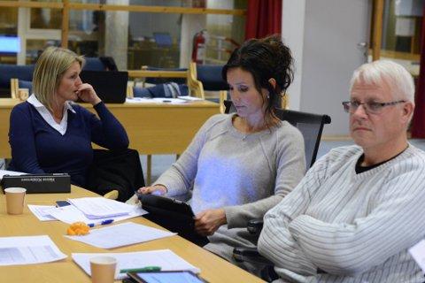 Hanne Kristensen (t.v.), Kristin Isdal Eide og Arne Bjørnevik (alle Høgre) fekk forslaget partiet deira leverte i lag med Sp igjennom i levekårskomiteen tysdag kveld.