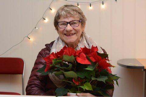 Aud Sigrun Fausk fekk juleblom i fjor fordi ho på frivillig dugnadsbasis arrangerer «Styrketrening for eldre» i konsertsalen i Kulturskulesenteret ein liten time kvar tysdag heile året. (Arkivfoto).