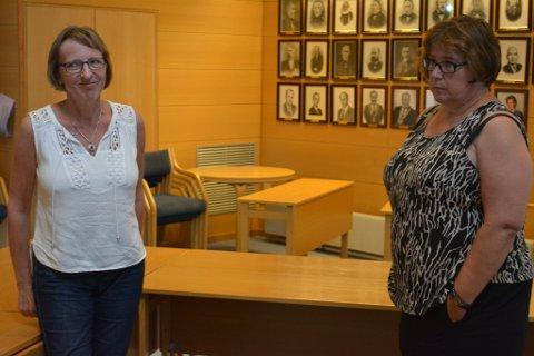Kommunalsjef Gunn Tove Petterteig (t.h.) har fått ei juridisk vurdering av vedtaket om matproduksjon som vart gjort i juni. Det førde til at Marit Elisebet Totland(KrF) fekk eit samrøystes formannskap med seg i forslaget om å lengja kontrakten med Bergen Hospitaldrift.