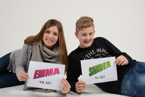 Sander Bekkenes og Emma Stene Jansen har populære namn.