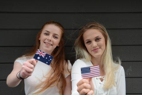 Marte Prestnes Ersland (t.v.) og Vilde Ersland Fiskerstrand skal ta andreåret på vidaregåande i Australia og USA. Det trur dei blir ei fantastisk oppleving.