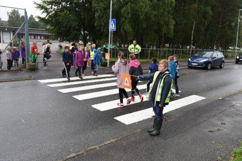 På bildet er det Eirik Anuglen som står med patruljeflagget nærast.