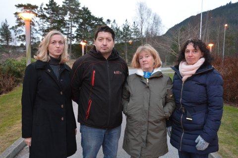 Gretha Rød (frå venstre), Aksel Kloster Jr., Irene Nielsen-Sjo og Hilde Enstad i Ap Kvinnherad si kommunestyregruppe.