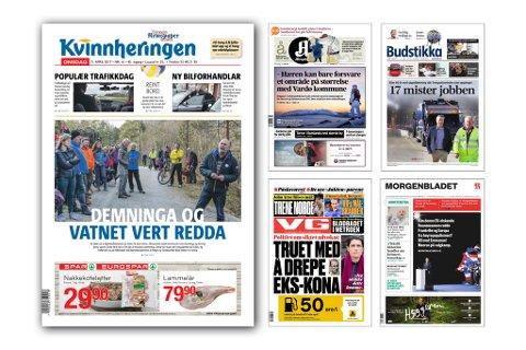 Kvinnheringen er i godt selskap med fire andre store aviser. (Illustrasjon: Vidar Håland).