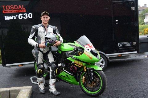 Marius Ripel Jensen tok andreplassen i første NM-runde i roadracing i Superbike-klassen på Våler søndag. (Arkivfoto).
