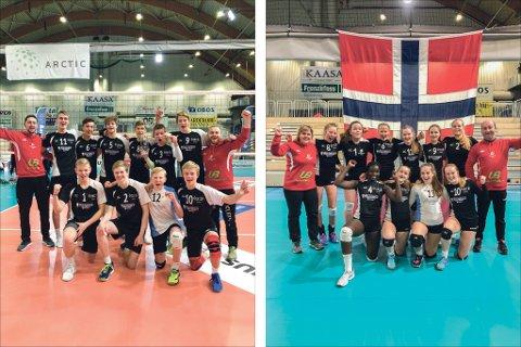 Bildet til venstre: Assistenttrenar Even Måge (bak f.v.), Mats Joachim Eikeland (nr 6), Lars Kristian Ekeland (nr 9). Framme f.v.: Henrik Tholo Aasen (nr 1), Anderas Haavik (nr 2), Sigve Rødland (nr 12) og Sturla Gaugstad (nr 10). (Foto: Vibeke Molvik, Hordaland Volleyballregion). Bildet til høgre: Assistenttrenar Trude Femsteinevik (bak f.v.), Ina Lie Tråvik (nr 11), Aurora Aasgard (nr 9) og Tuva Berge (nr 10). (Foto: Vibeke Molvik, Hordaland Volleyballregion).