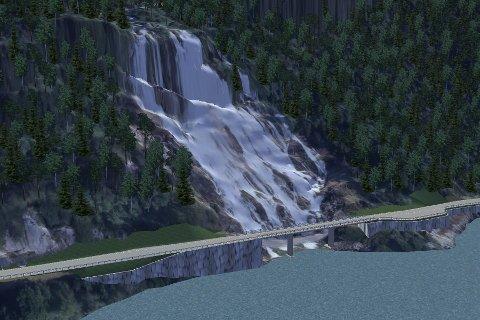 Slik ser den nye brua over Furebergfossen ut. Sjøsida blir plastra med natursteinmur.