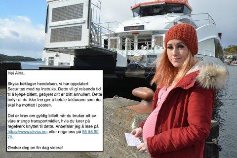 Aina Røssland treng ikkje betala bota ho fekk på snøggbåten. (Arkivfoto / skjermdump av svaret frå Skyss).