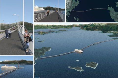 LMG Marin reknar 1 million kroner per meter på ei slik flytebru. Det vil gi ein kostnad på rundt 3 milliardar for bru over fjorden. Ovanfor illustrasjonar av LMG Marin. Den foreslåtte brua er tenkt frå Bjellandslandet til sør på Huglo.