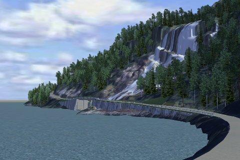 Ein solid konstruksjon av ei bru over Furebergfossen er i rask anmarsj