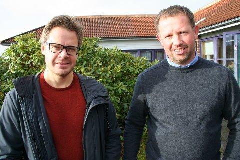 NYTT SELSKAP: Rune Furseth (t.v.) i Suldal Transport og bonde Kjell Thomas Kirketeig på Steinsland i Vindafjord, to av fem initiativtakarar bak Biovind, eit selskap som utgreier bruk av gjødsel og slakteriavfall til drivstoff, flytande gass, CO2, for lokale brukarar.