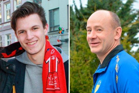 Ian Bjørke (t.v.) og Ingvar Hølland skal bidra med fakta og fotballpreik – og kanskje litt humor og spydigheitar – under laurdagens oppgjer mellom Halsnøy og Rosendal.