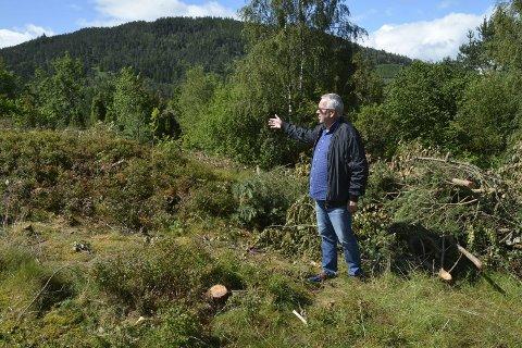 Området ved Smiehaugen er dekka av skog, men Ove Lemicka fortel at det i løpet av eit par månadar vil det vera full gang i anleggsarbeidet.