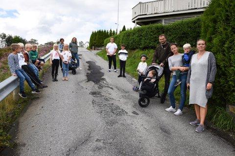 Her er eit lite knippe av store og små bebuarar i byggjefeltsområdet Heio ovanfor Sæbøvik. Kvinnheringen snakka med dei tre vaksne me ser til høgre her, f.h. Bente Sjo, Mona Herskedal Fjelland og Karsten Gilje.