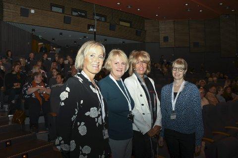 INVITERTE: Frå venstre: Torill Storhaug Fotland, Elisabet Anuglen Kalsås, Marianne Lund Anderssen og Tone Henriksen var alle med på å arrangera konferansen «Rom for bedring» i Husnes kulturhus tysdag.