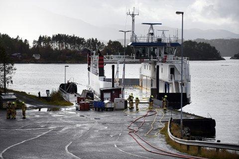 «Ytterøyningen» til kai på Sydnes, same dag som eksplosjonen skjedde. (Arkivfoto).