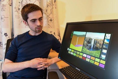 DATA: Marcel Rød (21) frå Husnes har fått eit stort stipend, og skal studera kunstig intelligens ved Oxford-universitetet i England. Her har Rød demonstrert korleis ein kan laga eit bilde på ein datamaskin berre ved å beskriva motivet for maskinen.