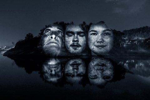 Den franske kunstnaren Clément Lesaffreer jobbar blant anna med fotografi, og i prosjektet «Racines» har han projisert portrett på naturen i mørkret, og så fotografert dei. Her ser du eit tøft døme. (Foto: Clément Lesaffreer).