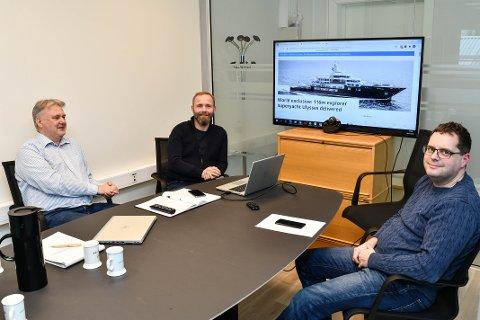 VEKST: Kvinnherad-selskapet Multi Solutions har hatt ein eventyrleg vekst. Og dei skal bli større. I dag er dei seks faste tilsette. I løpet av året ønsker dei å bli dobbelt så mange. F.v.: Morten Harsvik, Egil Fallmyr og Roger Skarveland.
