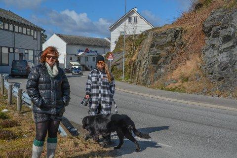 PROSJEKTLEIING: Anne Lise Næs (t.v.) er Kvinnherad kommune sin prosjektleiar for den nye områdeplanen for Sunde, medan Hildegunn Furdal (t.h., med hund) er medlem av prosjektgruppa. Hunden på bildet har ikkje noko formell rolle i det pågåande planarbeidet, men er med på litt medverknad.