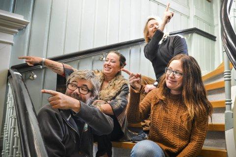 «Mitt kontor er der»: Fra venstre: jazzsjef Kai Gustavsen, møllasjef Yngvild Kristensen, kinosjef Even Thunes Jensen og glogersjef Margit Åsarmoen.  Foto: Eigil Kittang Ramstad