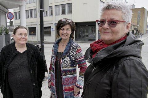 LEDELSEN: De er glade for å presentere ledertroikaen i lokalpartiet. Fra venstre: Rødt-veteran Veslemøy Fjerdingstad, kasserer i Rødt Kongsberg Ragnhild G. Vikesland og ny leder i lokalpartiet Marit Nyland.