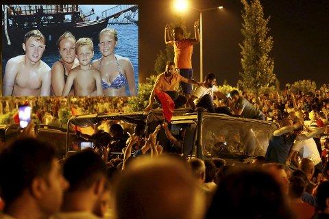 Kaos: Fv: Adria S. Linke, Erica Linke, Nicklas S. Linke og Sandra S. Linke er på ferie i Oba, 53 mil unna Ankara. De merker godt urolighetene og kaoset i landet.