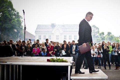 Tale: Da Vidar Lande gikk ned fra podiet, etter å ha talt for 10.000 mennesker, måtte han felle noen tårer. FOTO: Katinka M. Hustad